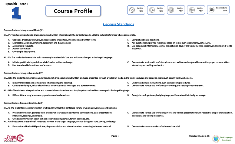 WL Course Profile I
